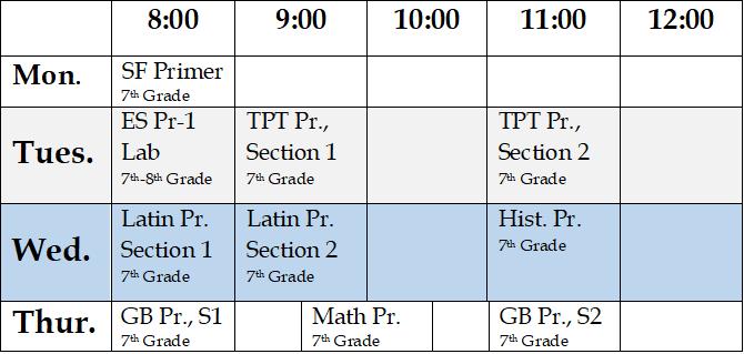 7th Grade Full Schedule 2020