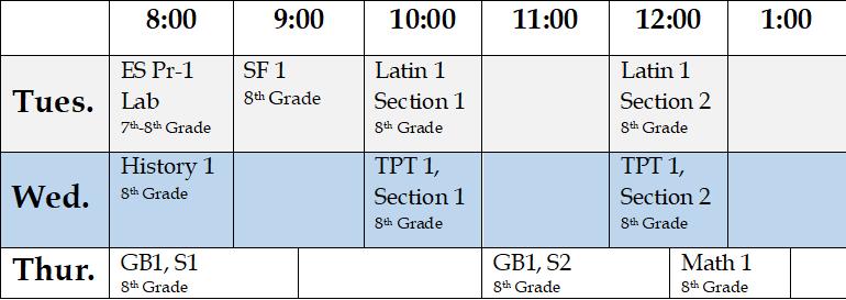 8th Grade Full Schedule 2020