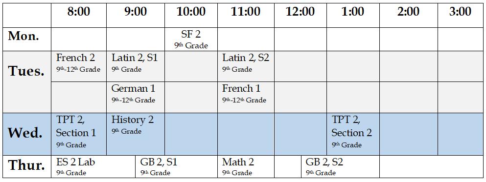 9th Grade Full Schedule 2020